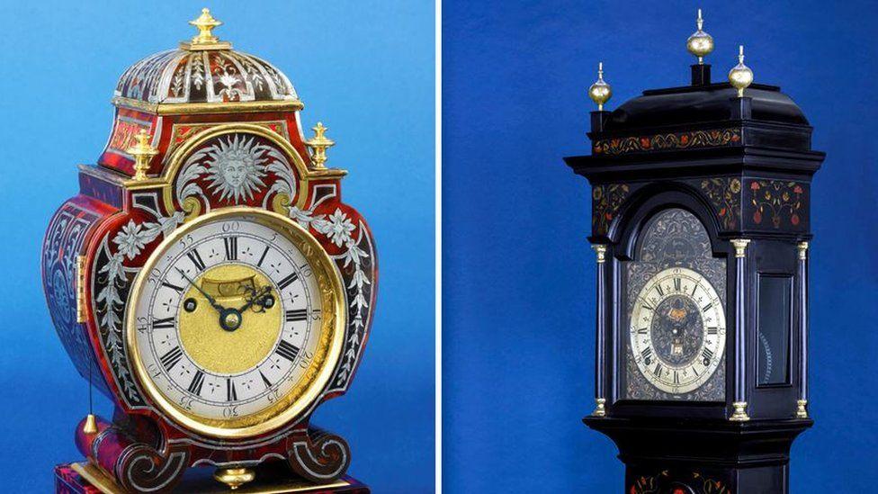 Clocks made by Thomas Tompion and John Harrison