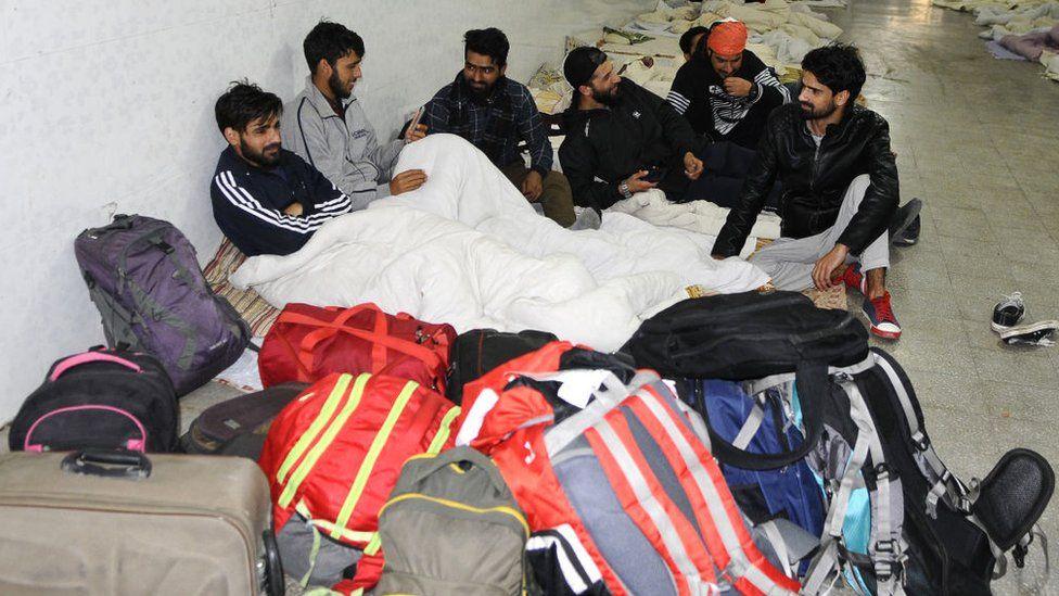 Kashmiri students from Dehradun, Ambala, Banur and Mohali leaving for Kashmir in Mohali, India.