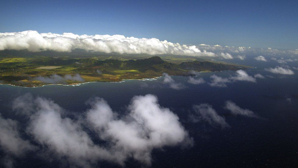 The island of Kauai from a distance