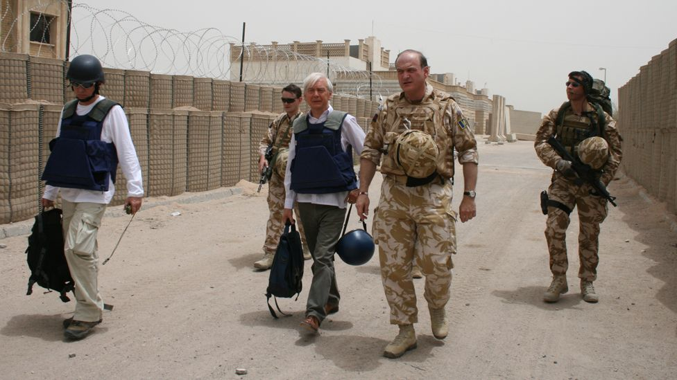 John Humphrys with British forces at their military base in Basra in 2003