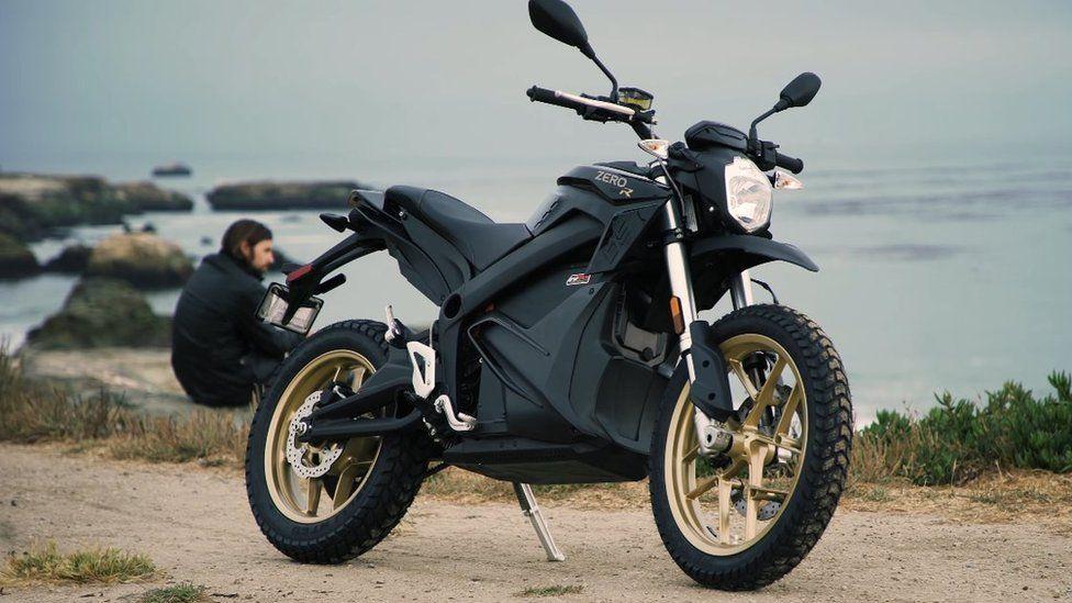 Zero Motorcycles bike standing next to the sea