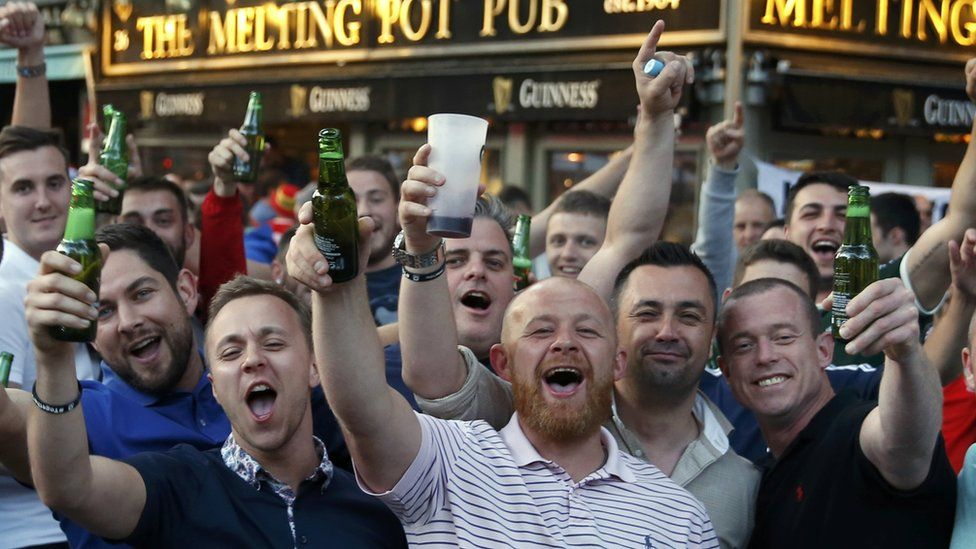 Wales fans at a bar in Toulouse ahead of Russia Euro 2016 game
