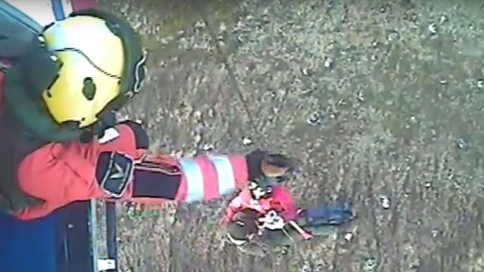 Footage of first rescue near Rannoch Station