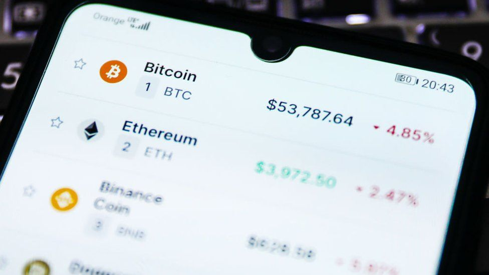 An app showing crypto-currency prices in real time