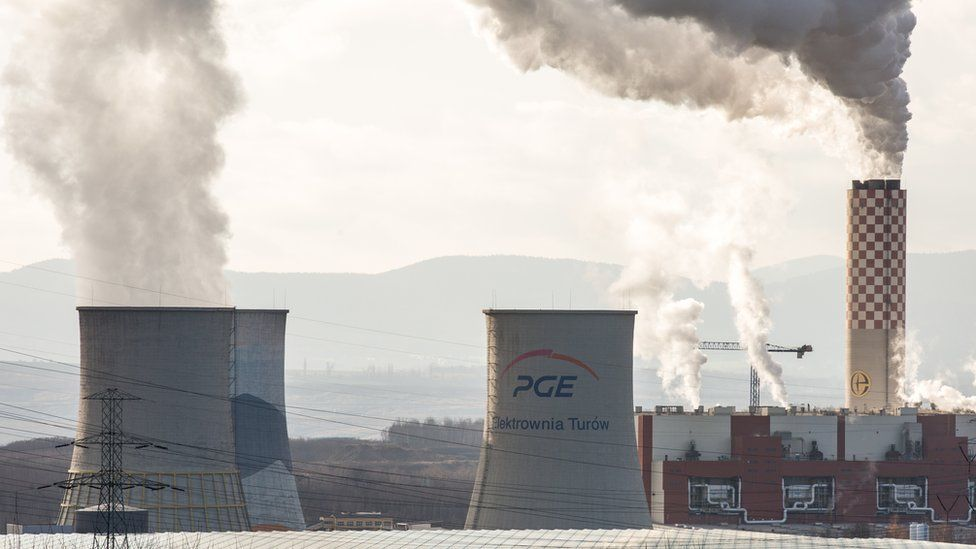 A view of cooling tower and a six-channel chimney of the Turow Power Plant in Poland