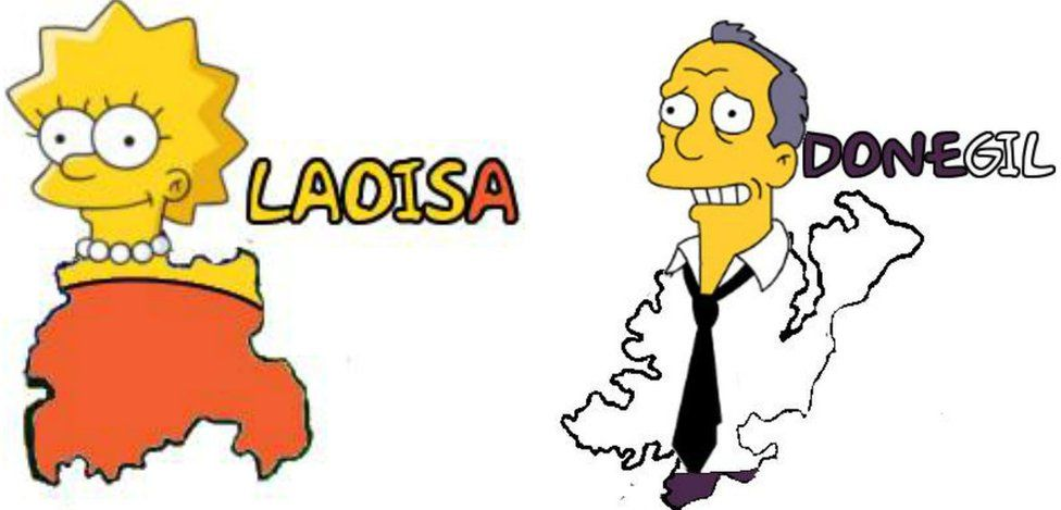 Simpsons characters Lisa and Gil as Irish counties