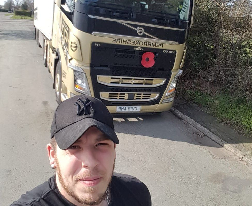 Ben McEwan with his lorry