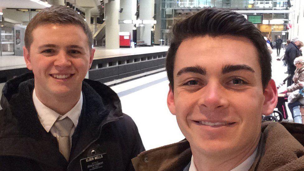 This undated photo provided by Chad Wells shows Mormon missionaries Mason Wells, 19, of Sandy, Utah, left, and Joseph Empey, 20, of Santa Clara, Utah.