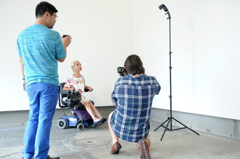 Jillian Mercado during a fashion shoot