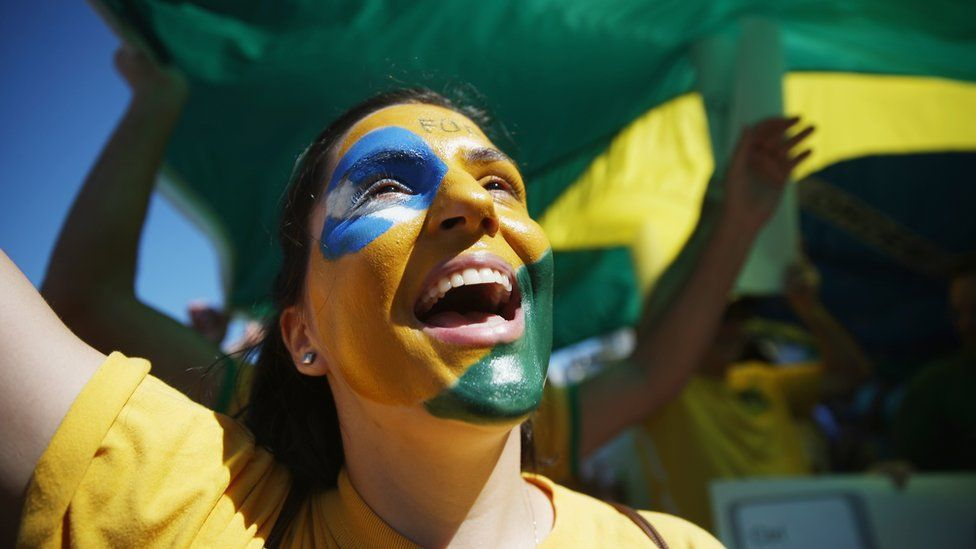 A woman at an anti-corruption protest in Rio de Janeiro back in the summer