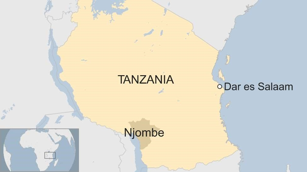 Map showing Tanzania