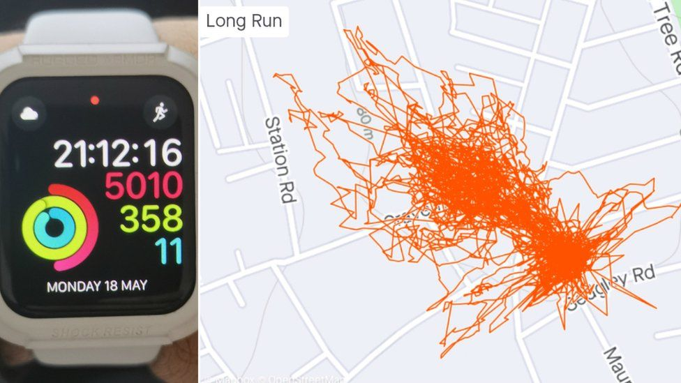 Asif Amirat's watch and a map of his run