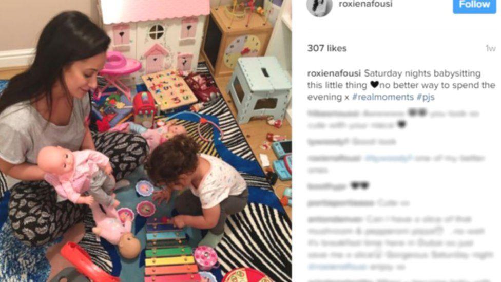 Roxie Nafousi babysitting her niece