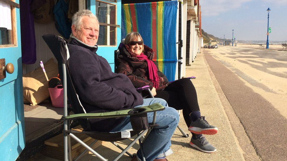 Pat and Donald Tryhorn at the beach hut they rent during the winter