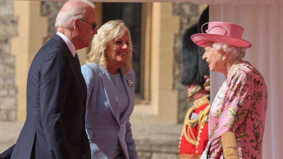 Joe Biden and First Lady Jill Biden with the Queen