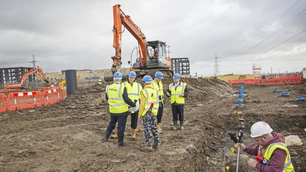 David Cameron visits a building site