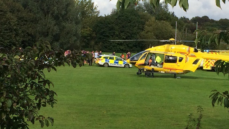 The air ambulance at Hadleigh Rugby Club