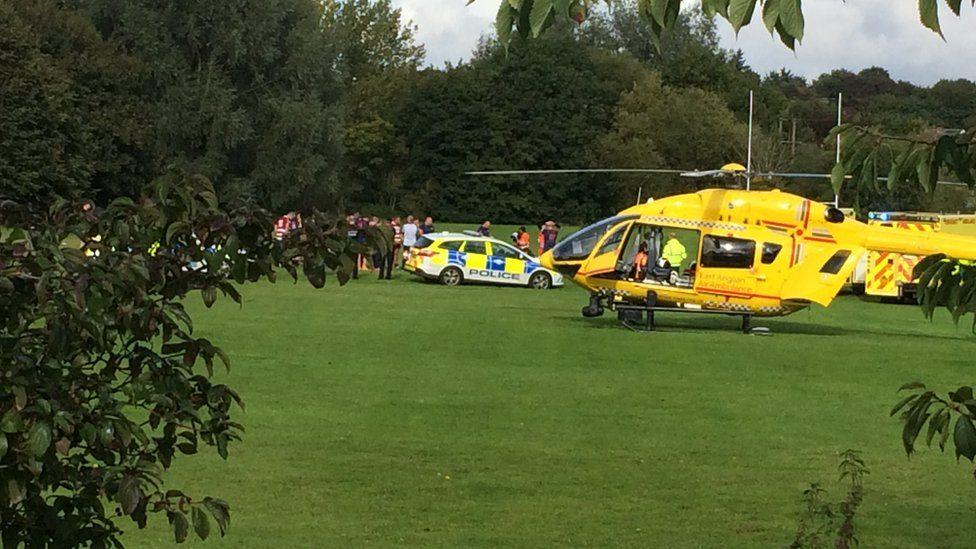The air ambulance at Hadleigh Rugby Club
