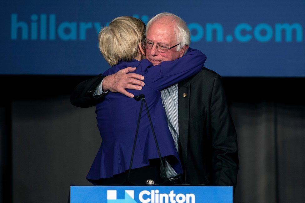 Elizabeth Warren hugs Bernie Sanders as both campaigned for Hillary Clinton in 2016