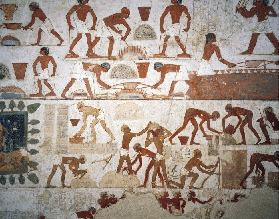 A painting of workers making bricks from the tomb of Rekhmire in Thebes, Egypt