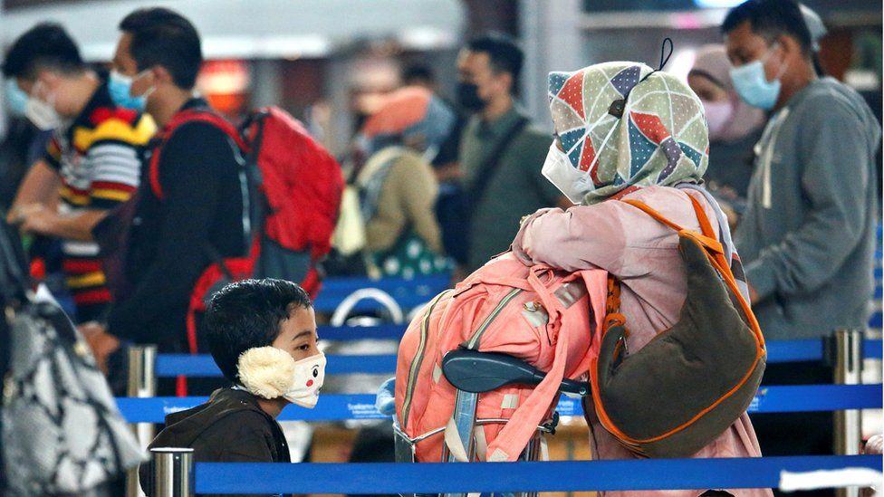 Passengers at Jakarta airport