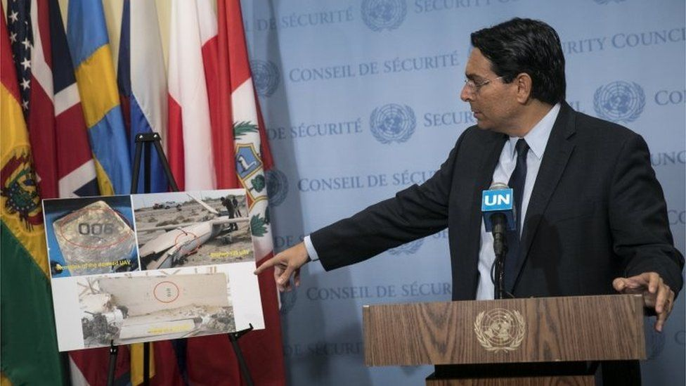 Israel's UN ambassador points to picture of what Israel says was an armed Iranian drone sent to attack it in February (26/04/18)