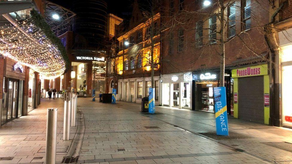Empty street in Belfast city centre