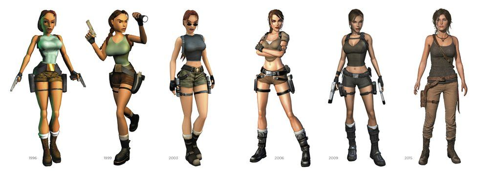Composite showing how Lara Croft has evolved