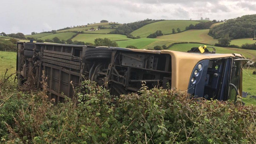 Bus overturned.