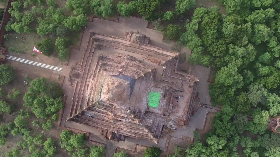 View from above a damaged structure in Bagan.