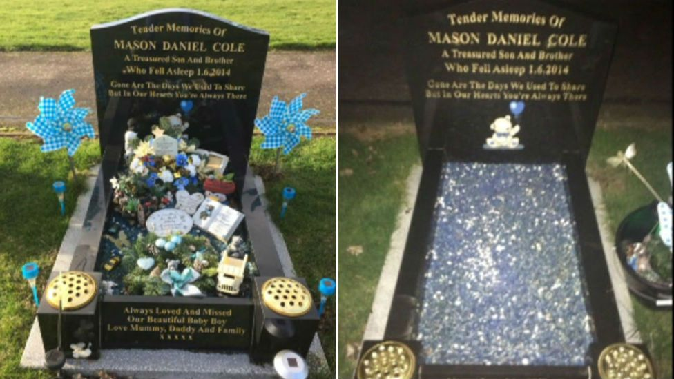 A grave in the cemetery that has been targeted by thieves
