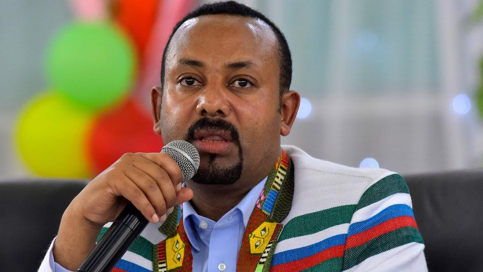 Ethiopian Prime Minister Abiy Ahmed addresses a crowd in the town of Bonga, Ethiopia, on 1 September 15, 2019