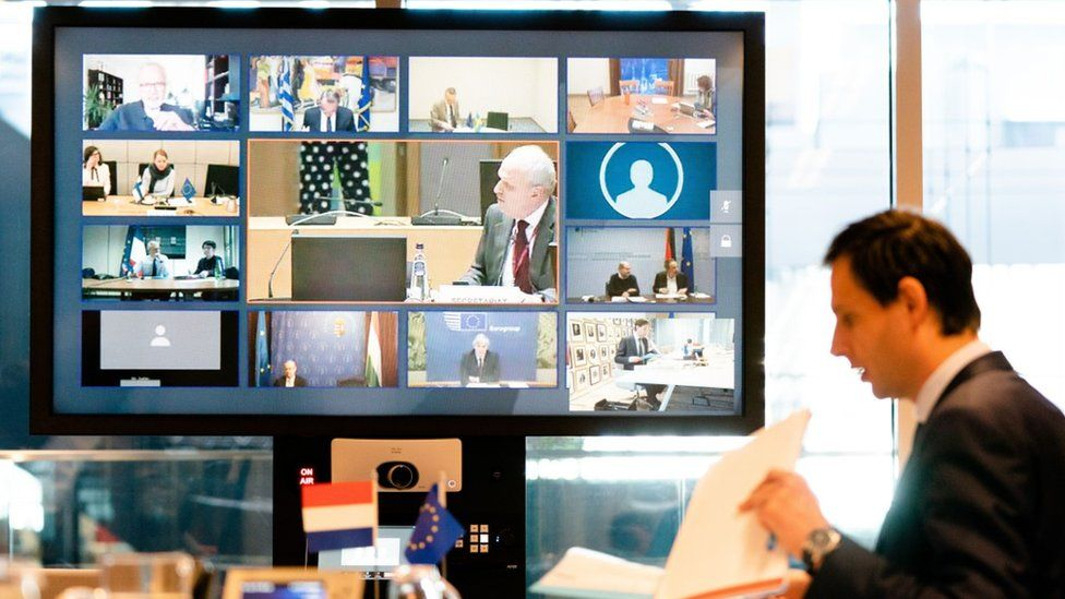 Netherlands' FinanceMinister Wopke Hoekstra looks on during a video conference with EU finance ministers in The Hague