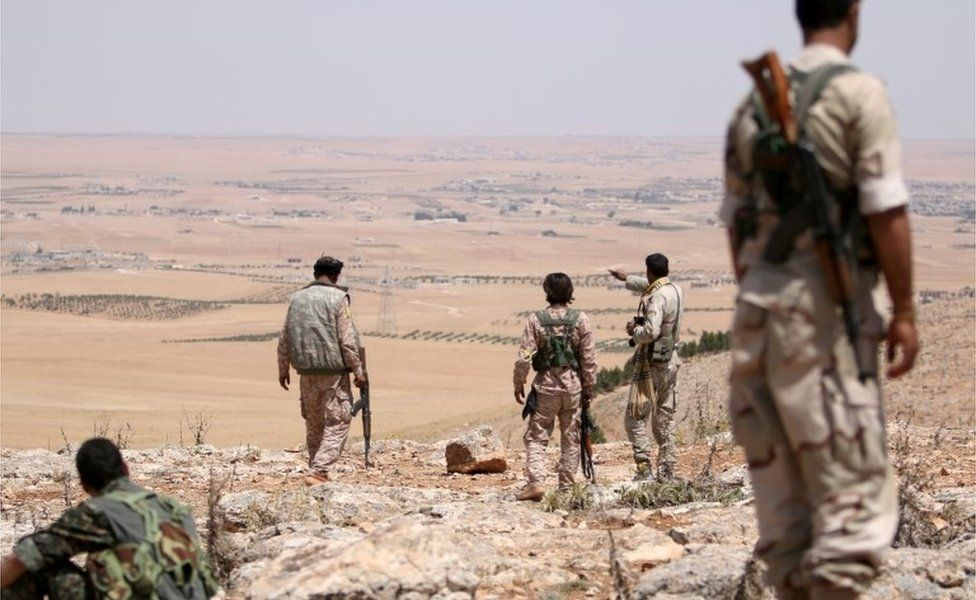 Fighters of the Manbij military council, allied to Syria Democratic Forces (SDF), in Manbij (file photo)