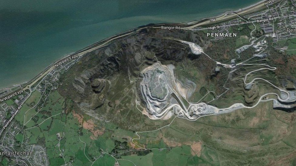 Aerial view of the route between Llanfairfechan and Penmaenmawr