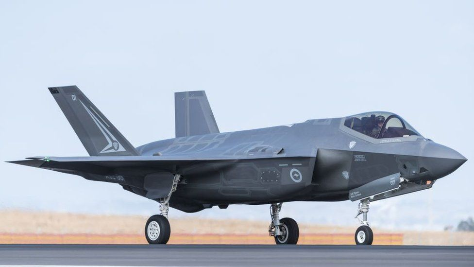 A Royal Australian Air Force F-35 aircraft taxis at an airshow in Victoria