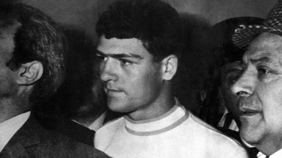 Raffaele Minichiello under arrest in Rome on 1 November 1969
