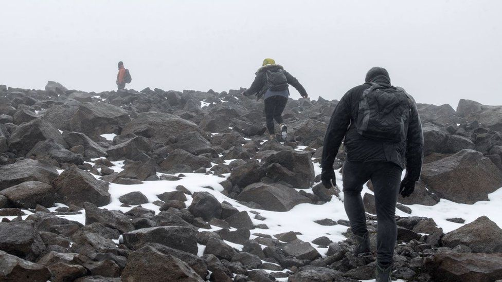 Dominic Boyer, Cymene Howe and Magnus Sigurdson in the Icelandic mountains