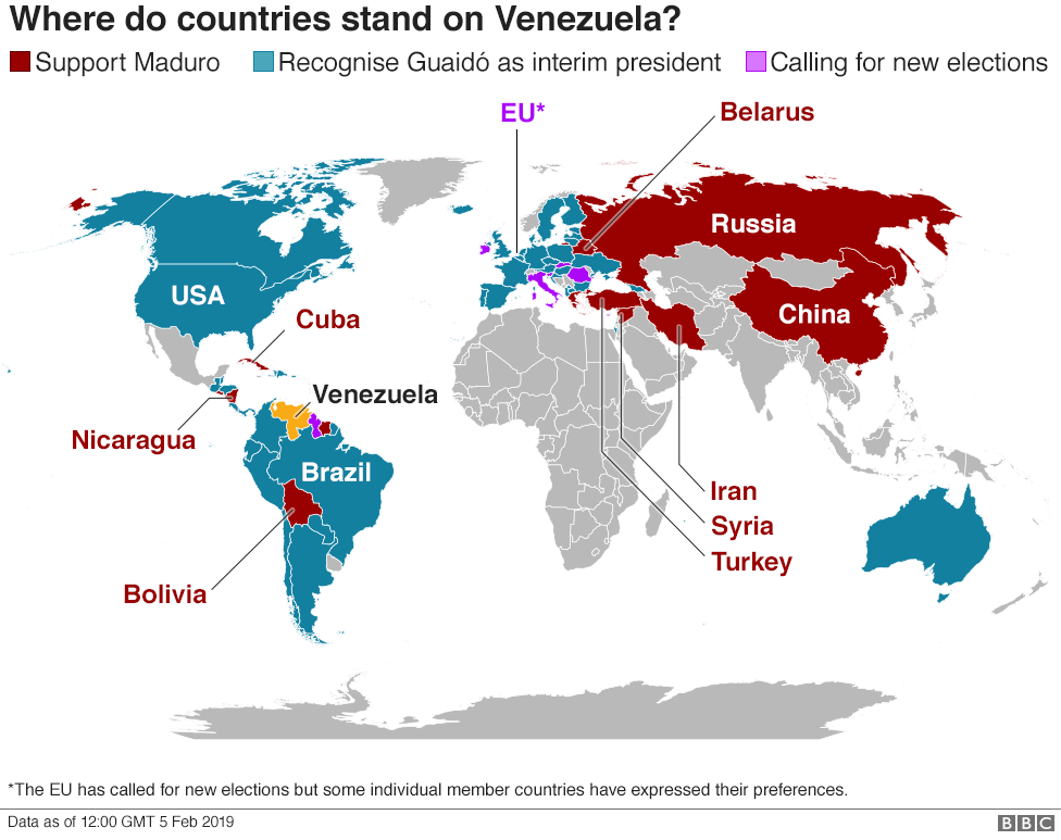 Map showing where countries stand in their support