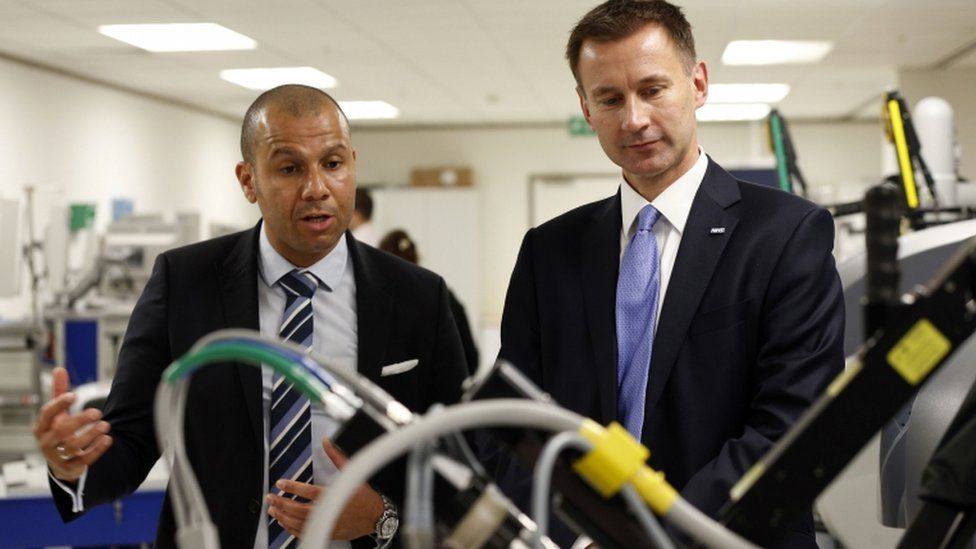 Jeremy Hunt during a tour of University College Hospital