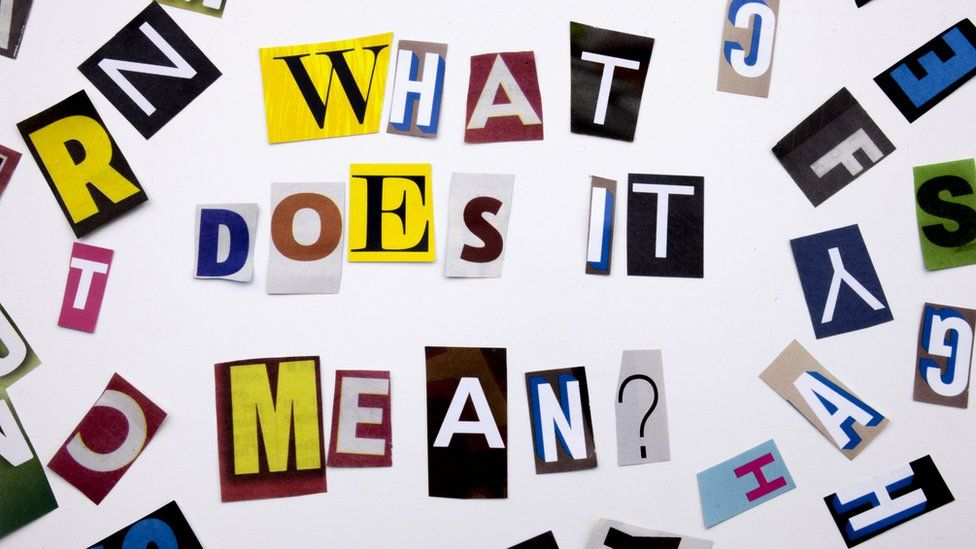 A word writing text showing concept of WHAT DOES IT MEAN QUESTION made of different magazine newspaper letters