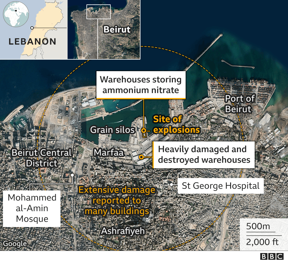 Map showing location of 4 August 2020 explosion in Beirut