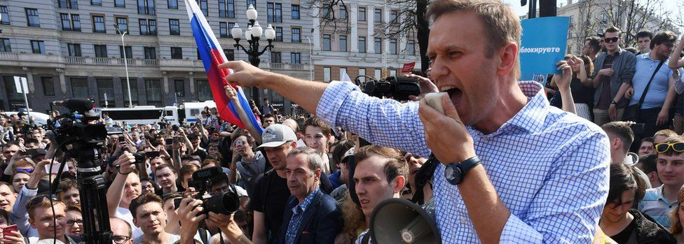 File photo taken on May 5, 2018 Russian opposition leader Alexei Navalny addressing supporters