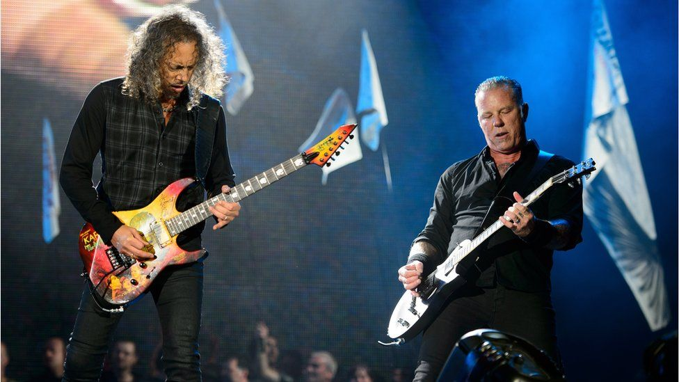 Metallica in concert at Glastonbury 2014