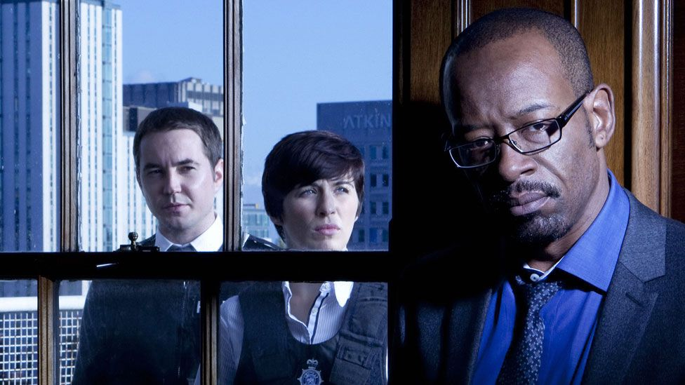 Martin Compston, Vicky McClure and Lennie James in Line of Duty