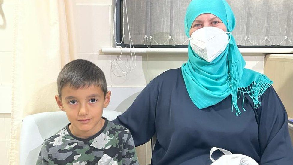 Patient Laura Gecaite and her son Alnatin, age seven