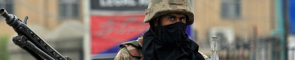 A Pakistani soldier in Peshawar, 16 March 2016