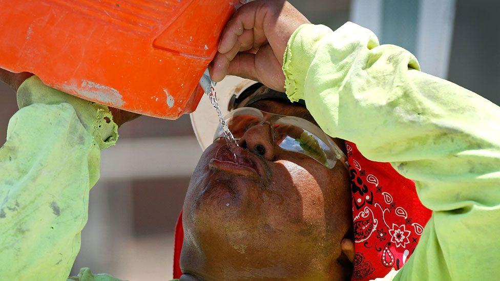 Man drinking water in Arizona