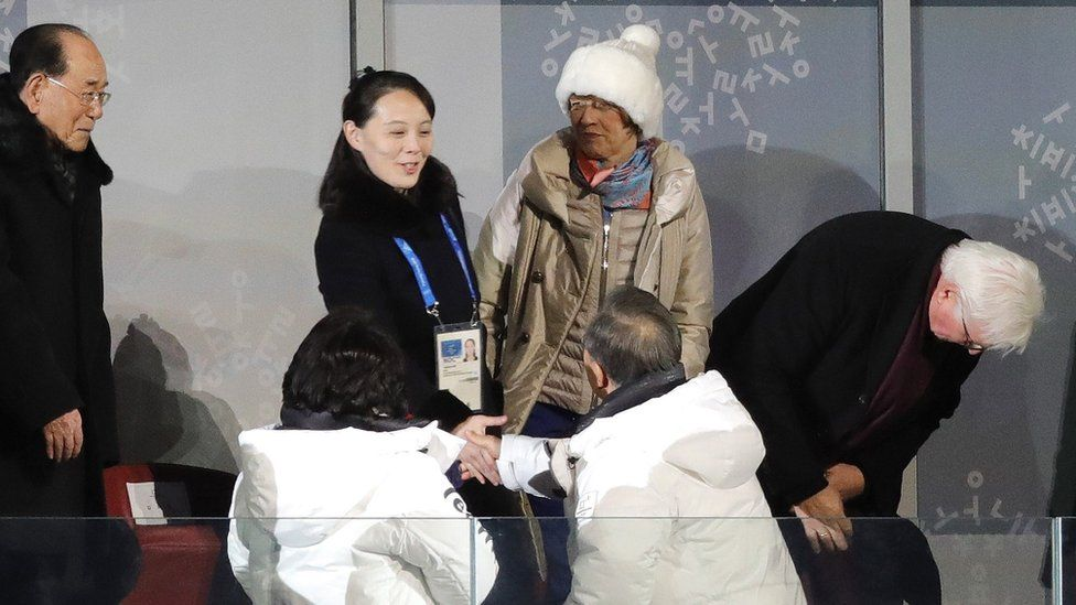 Ms Kim (C) shook hands with Mr Moon at the opening ceremony