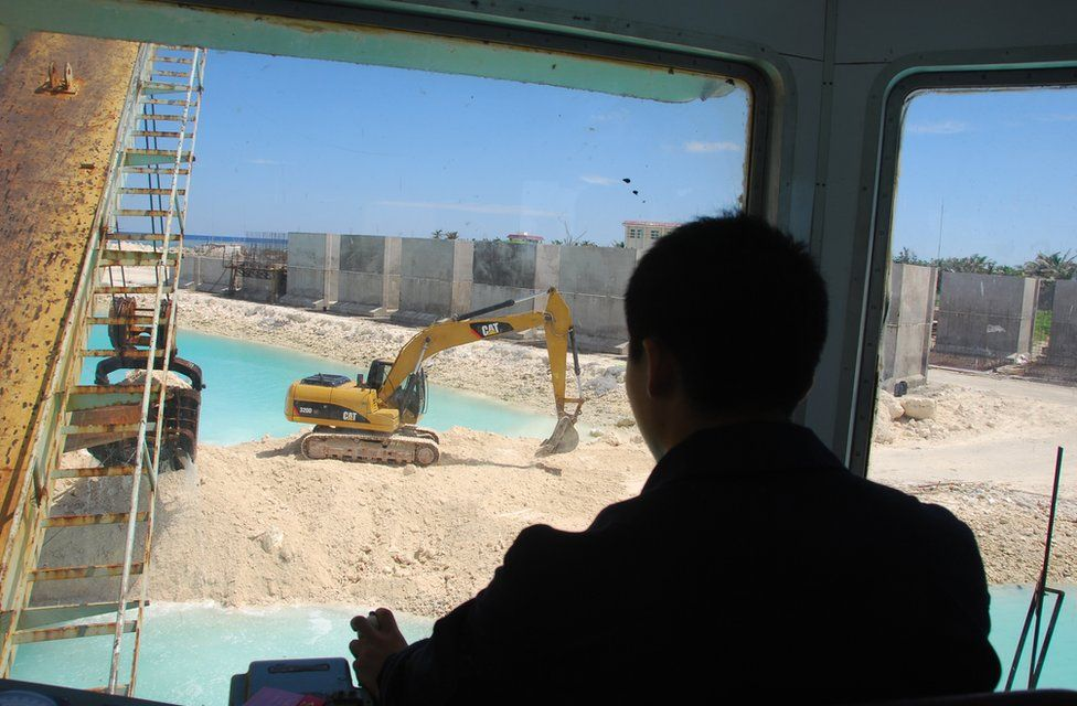 Construction workers building a jetty on Yongxing/Woody Island
